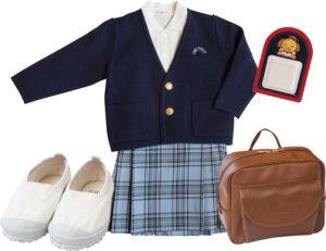 制服、鞄、上靴、名札